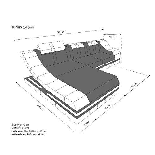 ledersofa turino l form mit led m bel24. Black Bedroom Furniture Sets. Home Design Ideas