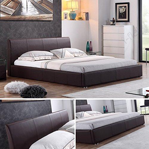 i-flair® - Designer Polsterbett, Bett MONACO 180cm x 200cm braun - alle Farben & Größen