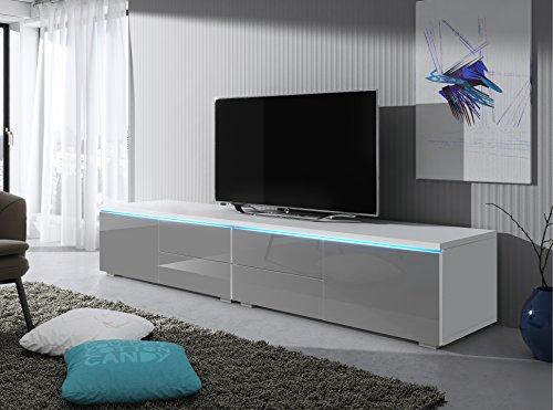 tv schrank lowboard sideboard tisch m bel board luv double mit led wei matt grau hochglanz. Black Bedroom Furniture Sets. Home Design Ideas
