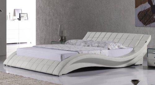 Polsterbett, Kunstlederbett R0W 180x200 cm Weiß aus hochwertigem Kunstleder