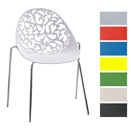 CLP Design Retro Stapelstuhl FAITH, Materialmix Kunststoff + Metall in Chromoptik Weiß