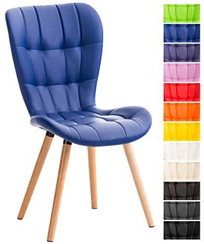 CLP Esszimmerstuhl ELDA mit Kunstlederbezug, Lehnstuhl mit Holzgestell, Polsterstuhl, Besucherstuhl mit stilvollen Ziernähten, Blau
