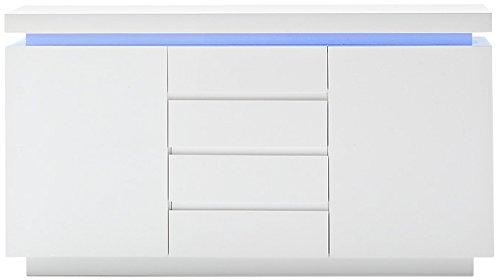 Robas Lund Sideboard Kommode Ocean Hochglanz weiß LED Beleuchtung mit Farbwechsel inkl. Fernbedienung 150 x 40 x 81 cm 48983WW8