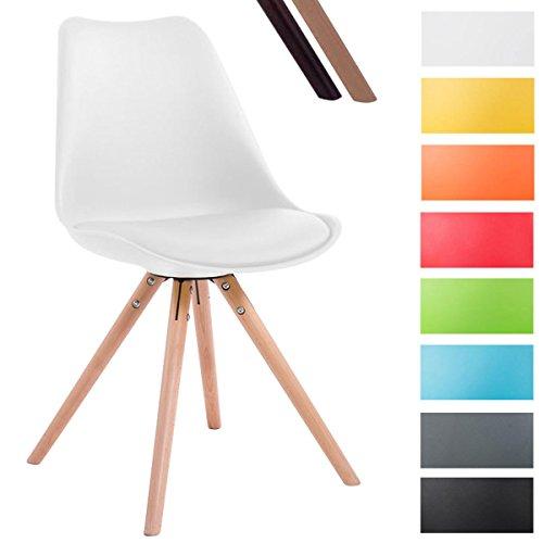 CLP Design Retro-Stuhl TOULOUSE RUND, Kunststoff-Lehne, Kunstleder-Sitz gepolstert Weiß, Holzgestell Farbe natura, Bein-Form rund