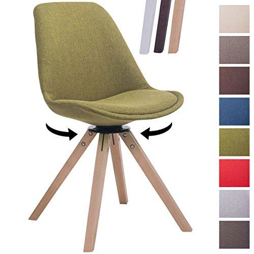 CLP Design Retro-Stuhl TROYES SQUARE, Stoff-Sitz gepolstert, drehbar Grün, Holzgestell Farbe natura, Bein-Form eckig