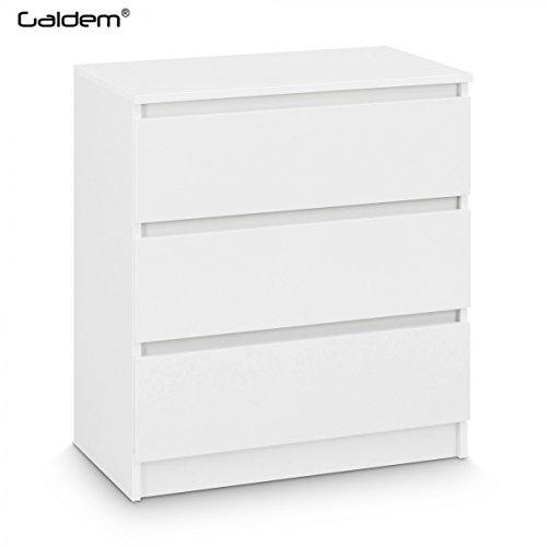 Galdem GAKO3WS Kommode mit 3 Schubladen, Holz, weiß, 70 x 77 x 40 cm