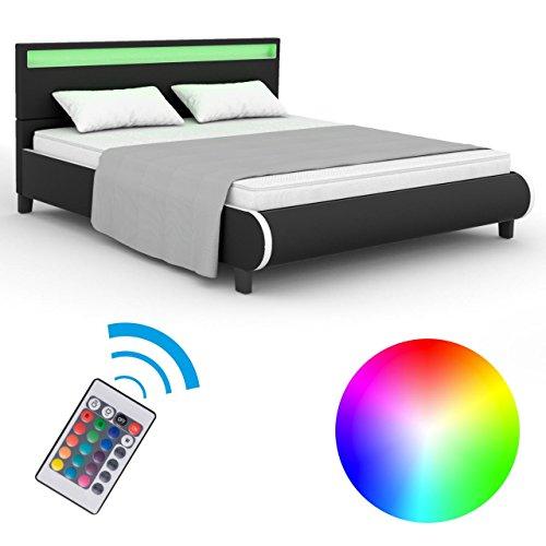 Homelux LED Bett Polsterbett Kunstlederbett Doppelbett Bettgestell Bettrahmen 140 x 200 cm Schwarz