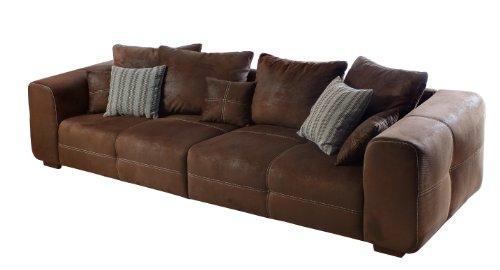 Sofa Mavericco / Braune Polster Couch in Wildlederoptik / Mit Kisseneinsatz und Echtholzfüßen / 287x69x108 (BxHxT)