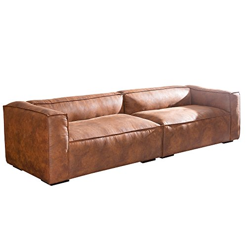 stylisches sofa gaucho braun 300 cm used look couch big sofa wohnlandschaft m bel24. Black Bedroom Furniture Sets. Home Design Ideas