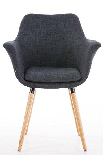 clp besucher stuhl vance holzgestell stoff bezug polsterstuhl mit armlehne grau m bel24. Black Bedroom Furniture Sets. Home Design Ideas