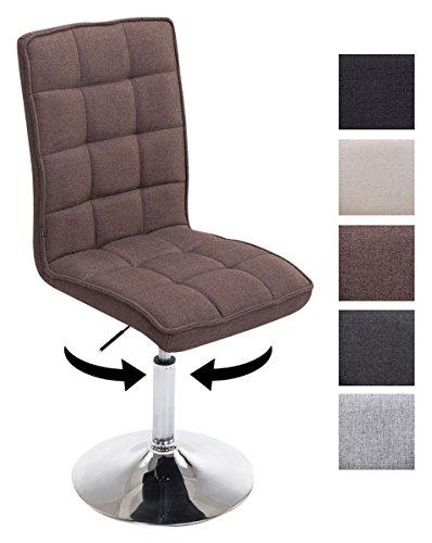 CLP Design Esszimmer-Stuhl PEKING V2 mit Stoff-Bezug, max. belastbar bis 135 kg, gepolstert, Sitz drehbar und höhenverstellbar 41 - 55 cm Braun
