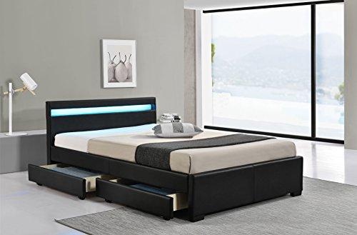 LED Bett LYON Doppelbett Polsterbett Lattenrost Kunstleder Gestell Bettkasten (160x200, Schwarz)