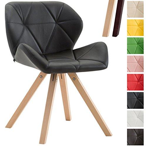 CLP Design Retro-Stuhl TYLER, Bein-Form square, Kunstleder-Sitz gepolstert, Buchenholz-Gestell, Schwarz, Gestellfarbe: Natura