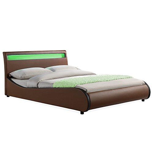 "Corium LED Polsterbett ""Valencia"" (braun - schwarz)(140x200cm) modernes Bett / Kunst-Leder / mit Stecklattenrost /"