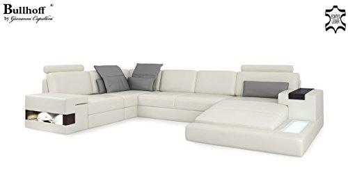 Ledersofa braun xxl wohnlandschaft leder couch sofa u form for Eckcouch mit led