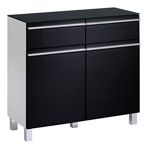 Cavadore Sideboard Sleek 10 / Moderne Kommode aus Holz mit Hochglanz-Front in Schwarz-Weiß und Ablage aus Glas / 33 x 80 x 73 cm (T x B x H)