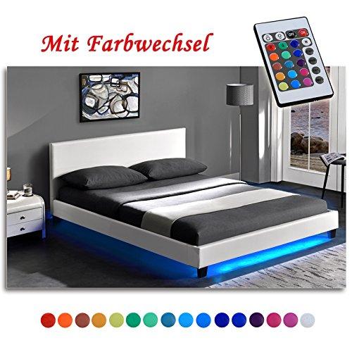 """GOA"" Polsterbett Luxus Doppelbett mit LED Unterbodenbeleuchtung inkl. Lattenrost (160 x 200 cm, Weiss)"