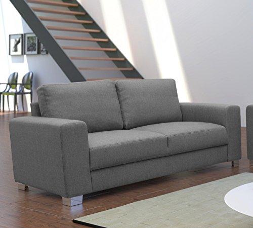 Dreams4Home, 2-Sitzer Sofa Dust BOXSPRING Polsterung Couch, Polstersofa, grau, Farbe:hellgrau;Fußausführung:Echtholz