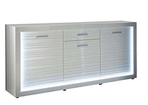 Trendteam sl sideboard wohnzimmerschrank kommode wei hochglanz 180 x 92 cm inkl led - Wohnzimmerschrank hochglanz ...