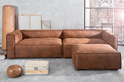 stylisches sofa gaucho braun 300 cm used look couch big sofa wohnlandschaft 6 m bel24. Black Bedroom Furniture Sets. Home Design Ideas