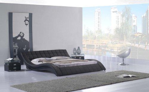 Polsterbett, Kunstlederbett R0B 200x200 cm Schwarz aus hochwertigem Kunstleder