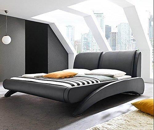 Doppelbett Polsterbett Bettgestell Bett Lattenrost Kunstleder (Schwarz, 180x200cm)