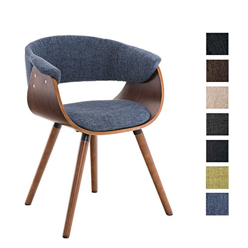CLP Esszimmer-Stuhl PIRMA Stoffbezug, Holzgestell walnuss, Gastro-Stuhl mit Armlehne Blau