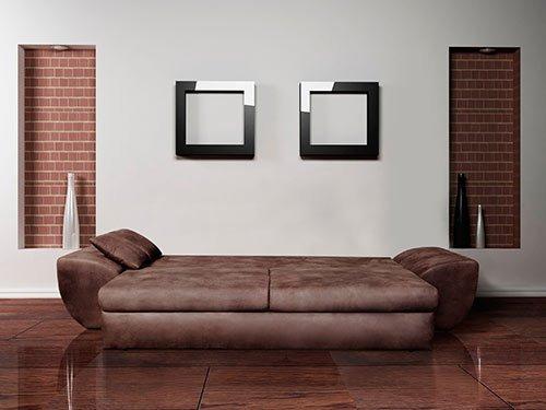 big sofa mit schlaffunktion und bettkasten im vintage look braun r ckenecht bezogen mit. Black Bedroom Furniture Sets. Home Design Ideas