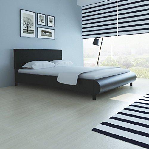 Anself Polsterbett Doppelbett Bett Ehebett aus Kunstleder im Bogen-Design 140x200cm ohne Matratze Schwarz
