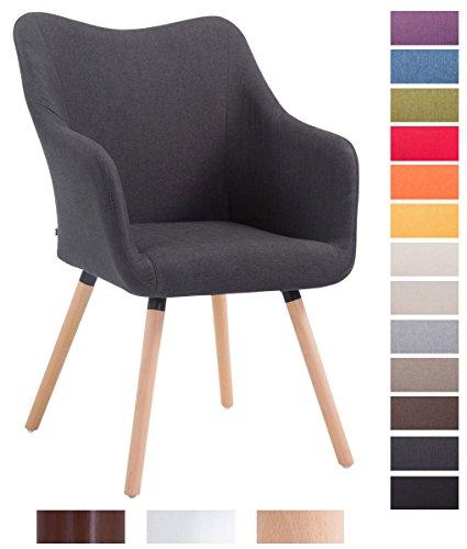 CLP Design Besucher-Stuhl MCCOY V2 mit Armlehne, Stoff-Bezug, Holz-Gestell, Sitzfläche gepolstert Dunkelgrau, Gestellfarbe: natura