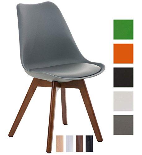 CLP Design Retro Stuhl BORNEO, Holzgestell, Sitz Kunststoff / Kunstleder, gepolstert Grau, Holzgestell Farbe walnuss