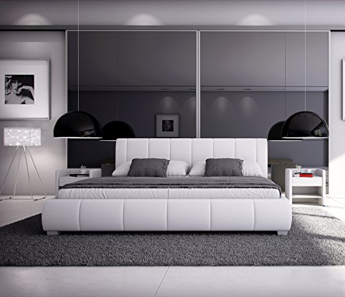 sam polsterbett 180x200 cm leon wei bett mit gepolstertem hohen kopfteil modernes design. Black Bedroom Furniture Sets. Home Design Ideas