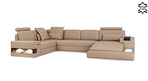 ledersofa braun xxl wohnlandschaft leder couch sofa u form ecksofa ledercouch eckcouch mit led. Black Bedroom Furniture Sets. Home Design Ideas