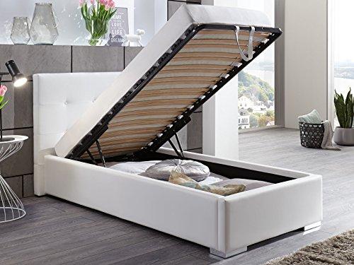 polsterbett bett mit bettkasten 90x200 wei betty. Black Bedroom Furniture Sets. Home Design Ideas