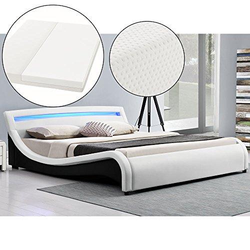 polsterbett malaga 140 x 200 cm led kopfteil wei mit kaltschaummatratze m bel24. Black Bedroom Furniture Sets. Home Design Ideas