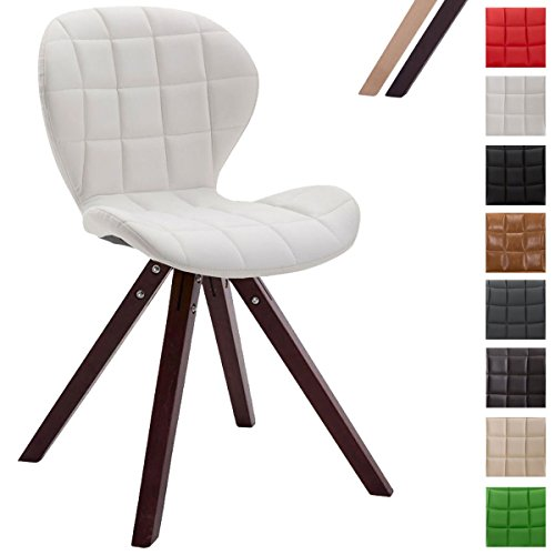 CLP Design Retro-Stuhl ALYSSA, Bein-Form square, Kunstleder-Sitz gepolstert, Lounge-Sessel, Buchenholz-Gestell, Weiß, Gestellfarbe: Cappuccino