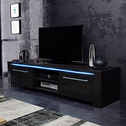tv schrank lowboard sideboard conoy mit led schwarz matt schwarz hochglanz m bel24. Black Bedroom Furniture Sets. Home Design Ideas