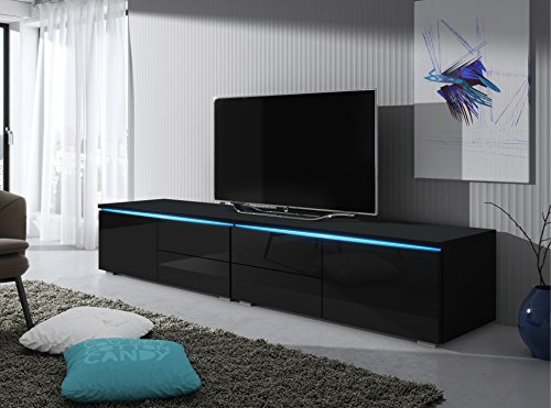 tv schrank lowboard sideboard tisch m bel board luv double mit led schwarz matt schwarz. Black Bedroom Furniture Sets. Home Design Ideas
