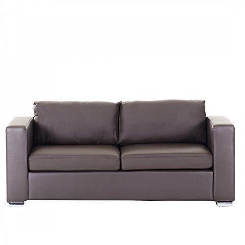 Sofa Leder braun 3-Sitzer HELSINKI