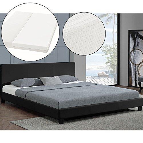 polsterbett barcelona 160 x 200 cm schwarz mit lattenrost kaltschaummatratze m bel24. Black Bedroom Furniture Sets. Home Design Ideas