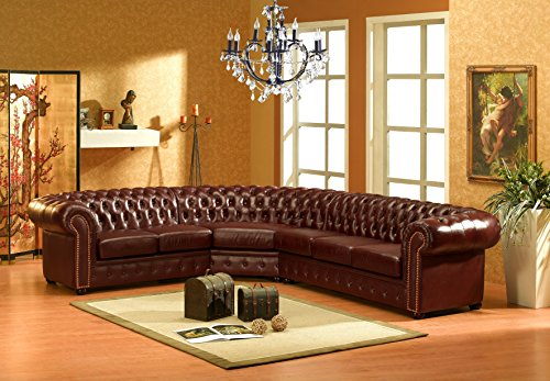 chesterfield r braun ledersofa ecksofa eckcouch m bel24. Black Bedroom Furniture Sets. Home Design Ideas