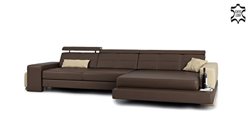 ledercouch eckcouch l form braun beige ledersofa wohnlandschaft leder ecksofa sofa couch mit. Black Bedroom Furniture Sets. Home Design Ideas