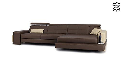 Ledercouch Eckcouch L-Form braun / beige Ledersofa Wohnlandschaft Leder Ecksofa Sofa Couch mit LED-Licht Designsofa IMOLA III