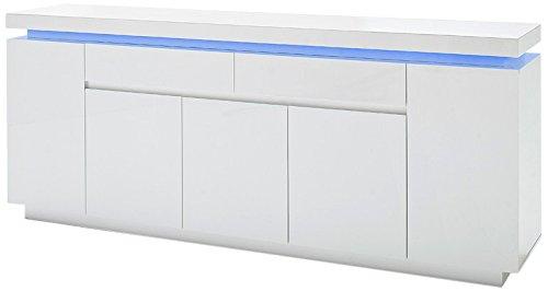 Robas Lund Sideboard Kommode Ocean Hochglanz weiß LED Beleuchtung mit Farbwechsel inkl. Fernbedienung 200 x 40 x 81 cm 48985WW8