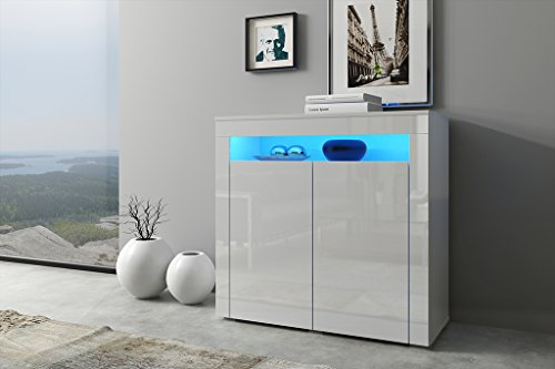 Kommode GRETA Sideboard Highboard mit Türen !!! Mit LED !!! (weiß matt / weiß halbglanz - mit LED)