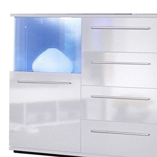 trendteam pu sideboard kommode wohnzimmerschrank wei glanz 141 x 40 cm m bel24. Black Bedroom Furniture Sets. Home Design Ideas