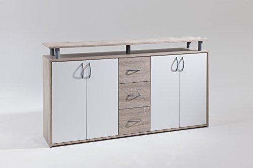 Cavadore Design Sideboard Porto / Moderne Kommode in Eiche sägerau foliert / Mit 4 Türen und 3 Schubladen Weiß / 150 x 85 x 35cm (B x H x T)