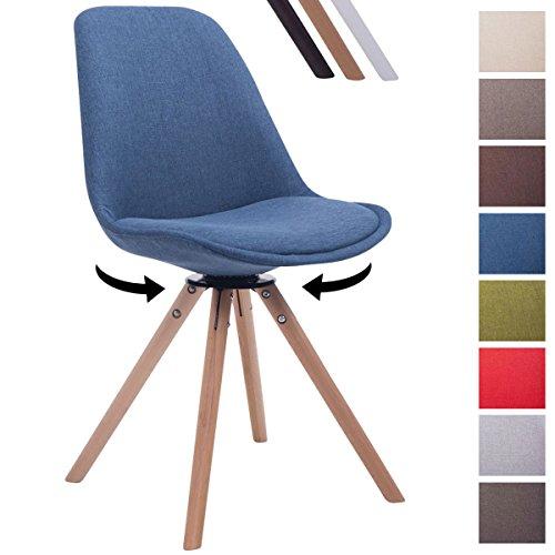 CLP Design Retro-Stuhl TROYES RUND, Stoff-Sitz, gepolstert, drehbar Blau, Holzgestell Farbe natura, Bein-Form rund