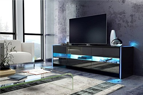 tv schrank lowboard sideboard sky schwarz matt schwarz hochglanz mit led m bel24. Black Bedroom Furniture Sets. Home Design Ideas