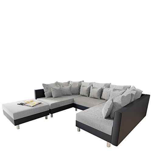 big ecksofa claudia xxl eckcouch mit schlaffunktion und polsterhocker design u form couch. Black Bedroom Furniture Sets. Home Design Ideas